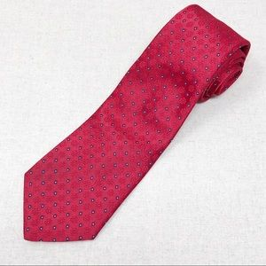 Vintage Shiny Red Tie with Navy Dots by Envoy